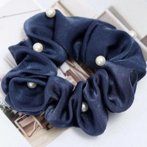 Diamonds & Pearls Scrunchie Navy