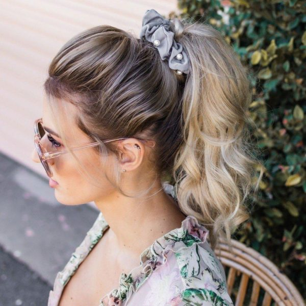 Diamonds & Pearls Scrunchie worn